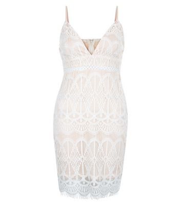 AX Paris White Lace V Plunge Neck Dress New Look