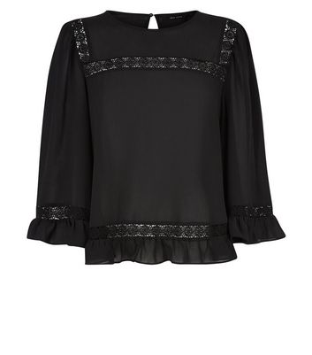 Black Lace Trim Bell Sleeve Top New Look