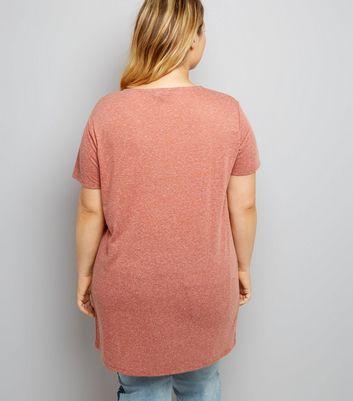 Curves Orange Marl Oversized T-Shirt New Look
