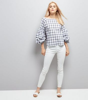 White Check Gathered Sleeve Top New Look