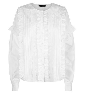 White Pleat Front Lace Trim Blouse New Look