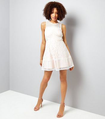 AX Paris Cream Mesh And Lace Skater Dress New Look