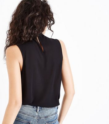 Black Twist Choker Neck Top New Look