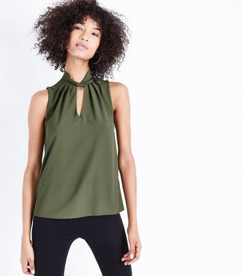 Khaki Twist Choker Neck Top New Look