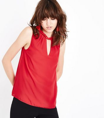 Red Twist Choker Neck Top New Look