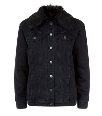 Black Faux Fur Collar Denim Jacket New Look