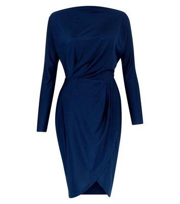AX Paris Navy Wrap Skirt Dress New Look