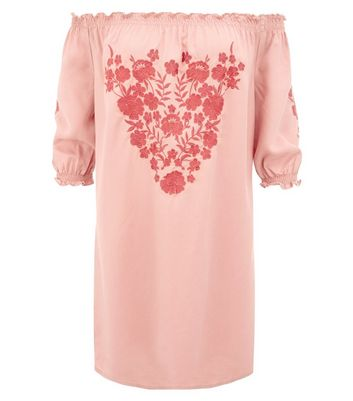 Shell Pink Embroidered Bardot Neck Dress New Look