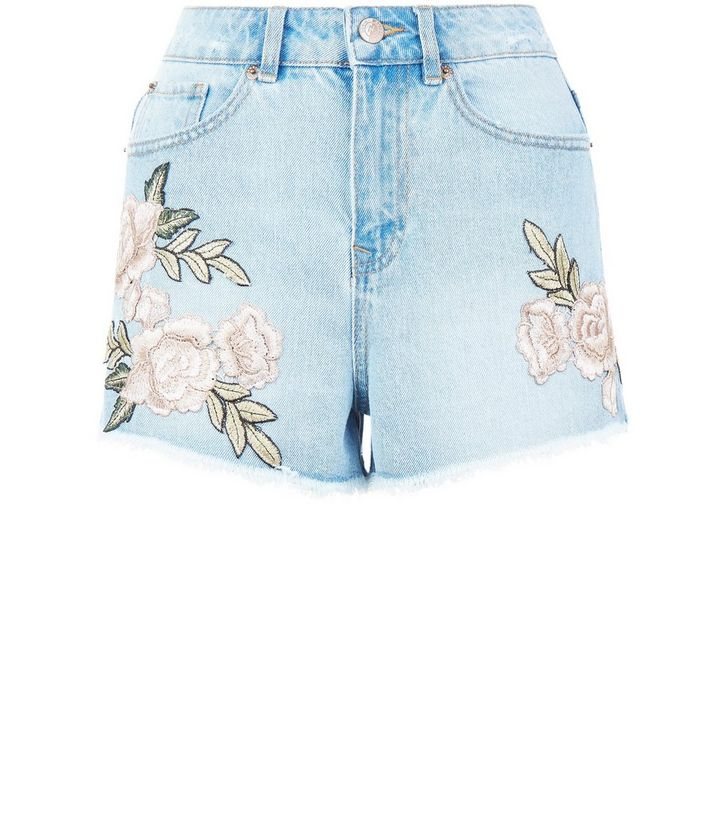 fca23b1a5f ... Light Blue Denim Floral Embroidered Shorts. ×. ×. ×. Shop the look