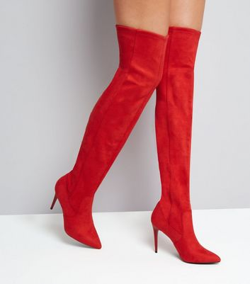Red Suedette Stiletto Over The Knee Boots New Look