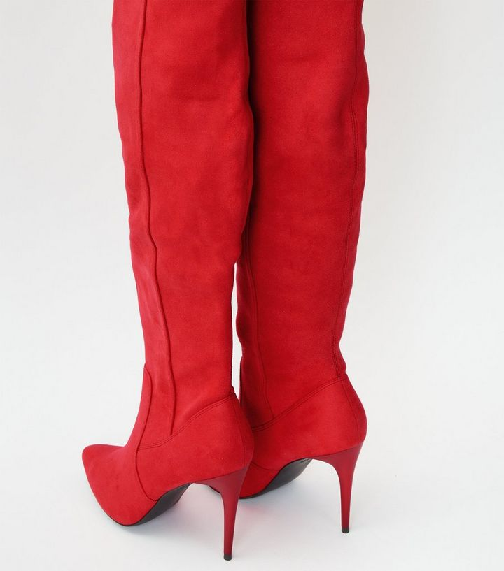 759c4e55850 ... Red Suedette Stiletto Over The Knee Boots. ×. ×. ×. Shop the look
