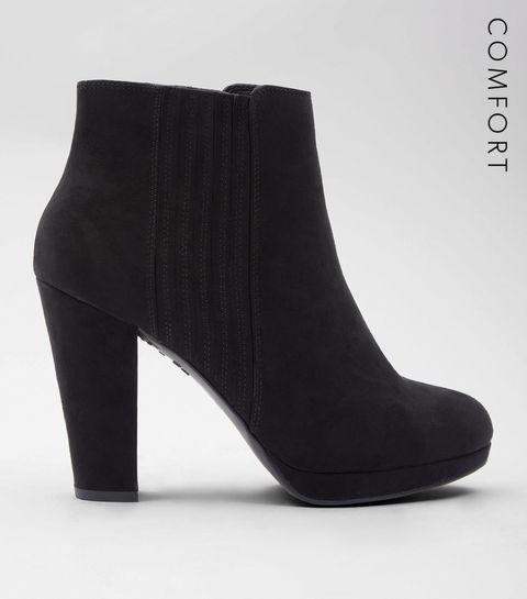 b8e347e1d6ae ... Black Comfort Suedette Platform Chelsea Boots ...