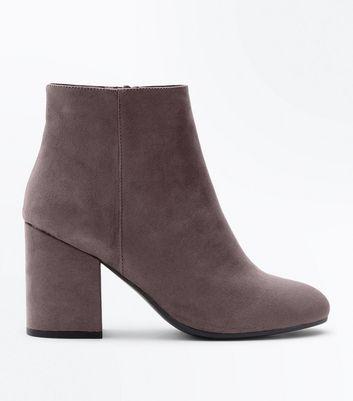 Grey Suedette Block Heel Boots New Look