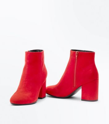 Red Suedette Block Heel Boots New Look