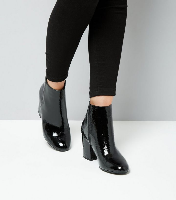 292bcf9d09e Black Patent Block Heel Ankle Boots Add to Saved Items Remove from Saved  Items