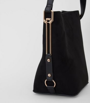 Black Suedette Side Detail Bucket Bag New Look