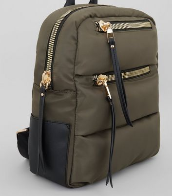 Khaki Quilted Chunky Zip Backpack New Look