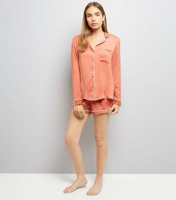 Pink Satin Piped Pyjama Set New Look