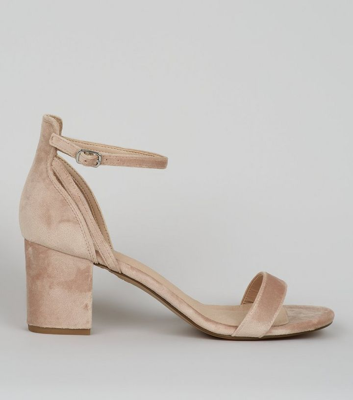 6ea7b69a781 Nude Comfort Velvet Low Block Heel Sandals