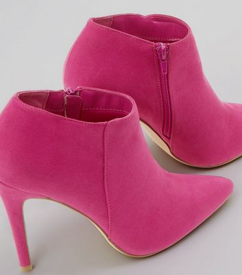 Pink Suedette Stiletto Heel Pointed Shoe Boots New Look