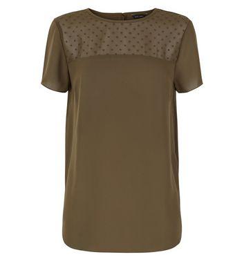 Khaki Spot Mesh Yoke Dip Hem Top New Look