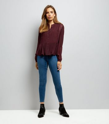 Burgundy Grandad Collar Peplum Hem Blouse New Look