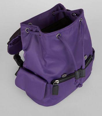 Purple Double Buckle Mini Backpack New Look
