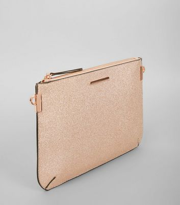 Rose Gold Glitter Curve Flat Clutch New Look