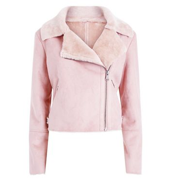 Blue Vanilla Pink Faux Shearling Cropped Jacket New Look