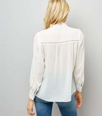 Cream Crochet Trim Shirt New Look