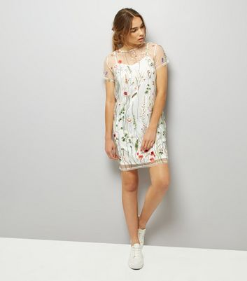 White Floral Embroidered Mesh T-Shirt Dress New Look