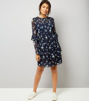 Blue Floral Print Frill Sleeve Smock Dress New Look