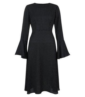 Black Polka Dot Bell Sleeve Midi Dress New Look