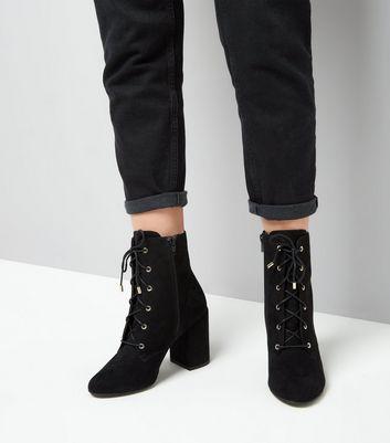 Black Suedette Lace Up Block Heel Boots New Look