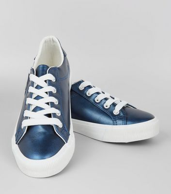 Teens Blue Metallic Lace Up Trainers New Look