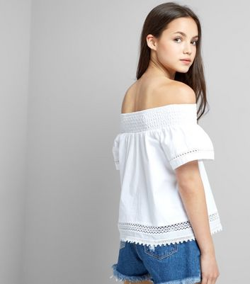 Teens White Crochet Bardot Neck Top New Look