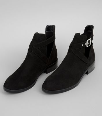 Wide Fit Black Suedette Cut Out Boots New Look