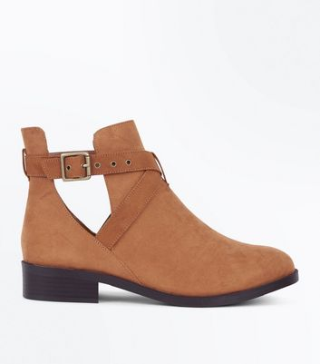 Wide Fit Tan Suedette Cut Out Boots New Look