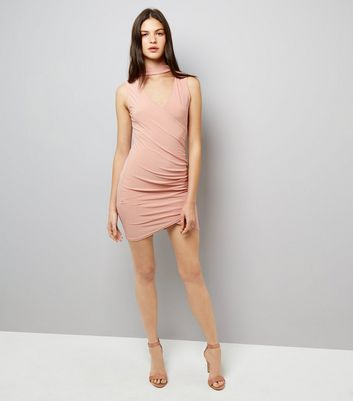 Cameo Rose Pink Wrap Front Choker Neck Dress New Look