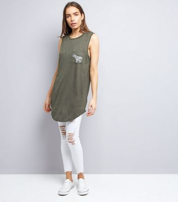 Apricot Olive Green Elephant Logo Longline Vest New Look