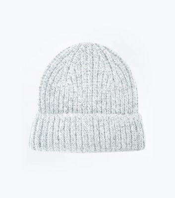 Grey Brushed Knit Beanie Hat New Look