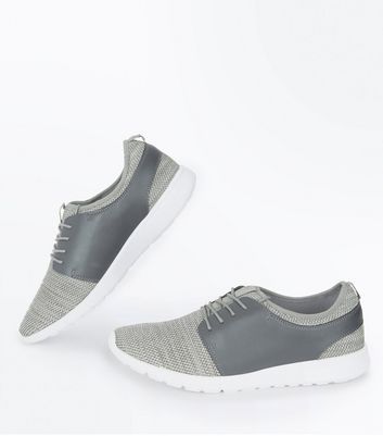 Grey Knitted Runners New Look