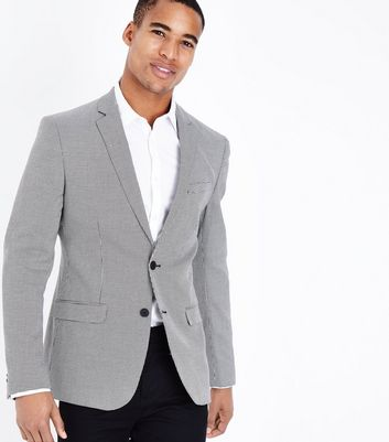 Light Grey Houndstooth Blazer New Look