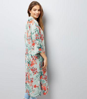 Green Floral Print Longline Kimono New Look