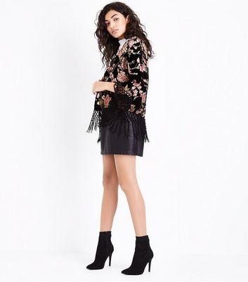 Black Floral Velvet Tassle Kimono New Look