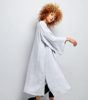 Pale Grey Longline Jacquard Kimono New Look