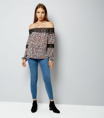 Black Floral Print Lace Trim Bardot Neck Top New Look