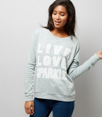 JDY Blue 'Live Love Sparkle' Slogan Print Sweater New Look