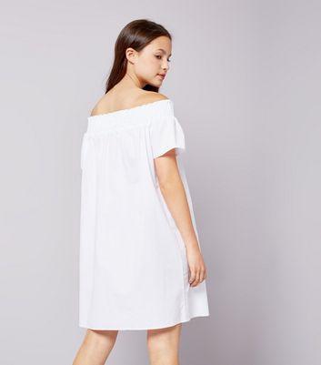 Teens White Bardot Neck Dress New Look