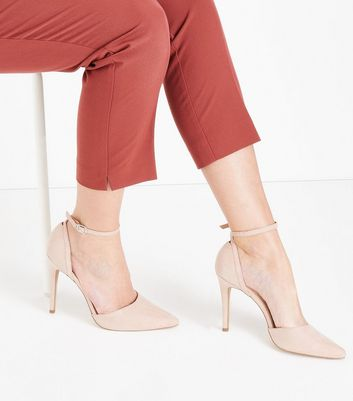Nude Suedette Keyhole Back Pointed Court Shoes New Look